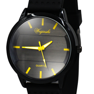 WEIJIESHI Lightweight Men's Black Rubber Strap Watch (WJQ-500-3)