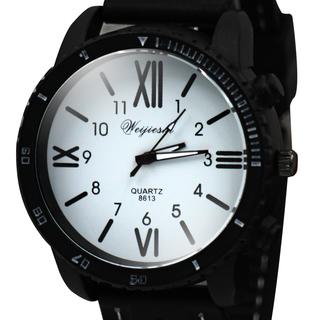 WEIJIESHI Lightweight Men's Black Rubber Strap Watch (WJQ-202-1)