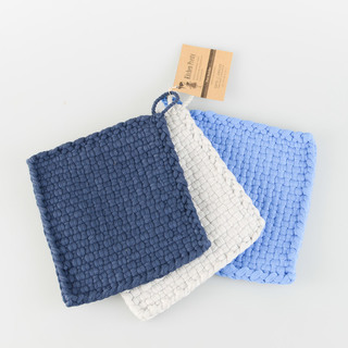 Kitchen Pretty Glass Potholders, Set of 3 (navy blue, white & light blue)