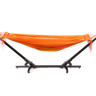 Jong Duyan Portable And Foldable Adult Hammock (Orange with Black Base)