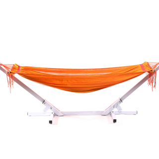Jong Duyan Portable And Foldable Adult Hammock (Orange with White Base)