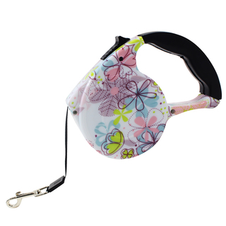 Petpals Floral Pattern 4.5M Automatic Retractable Dog Leash