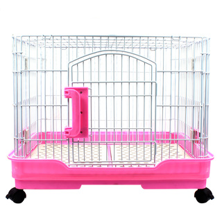 Luxury D-65 Large Dog Crate Cage with Wheels (Pink)