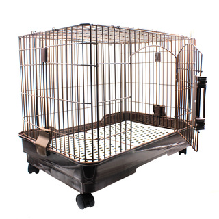 Luxury D-65 Large Dog Crate Cage with Wheels (Brown)