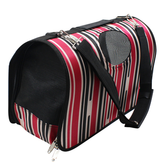 Petpals Vintage Stripes Pet Dog Travel Carrier (Red/Black)