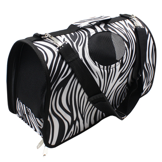 Petpals Zebra Stripes Pet Dog Travel Carrier (Black/White)