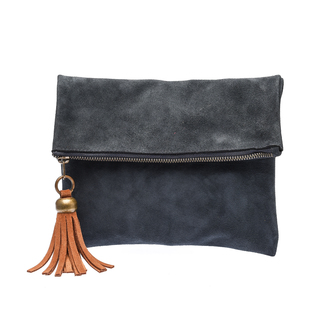 The School of Satchel Foldable Suede Clutch (Blue)