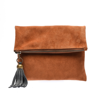 The School of Satchel Foldable Suede Clutch (Brown)
