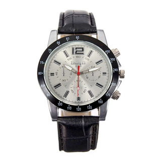 Men Casual Leather Watch - Black-White