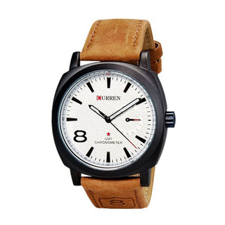 Men Fashion Leather Watch - Brown-White