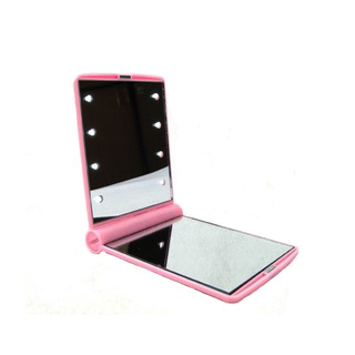 Pocket Makeup Mirror With LED Light - Pink