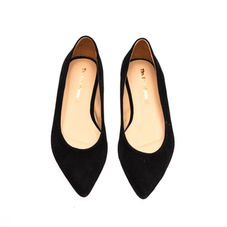 The Shoe Cycle Vimto Suede Flats - Black (VIMTO 001)