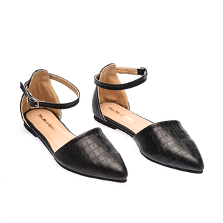 The Shoe Cycle Alligator Flats - Black (ANI 001)