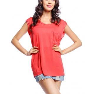 MANGO SHORT SLEEVE KNITS BLOUSE AJY140644988 (ORANGE)