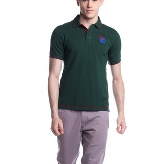 BERSHKA MENS SHORT SLEEVE KNITS WITH COLLAR AWG141146571 (DARK GREEN)