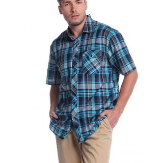 BILLABONG MENS SHORT SLEEVE WOVEN WITH COLLAR AKE131143909 (BLUE GREEN)