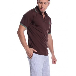 FRED FERRY MENS SHORT SLEEVE KNITS WITH COLLAR AWG141146525 (BROWN)