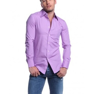 G2000 MENS LONG SLEEVE WOVEN WITH COLLAR AJY130741499 (PURPLE)