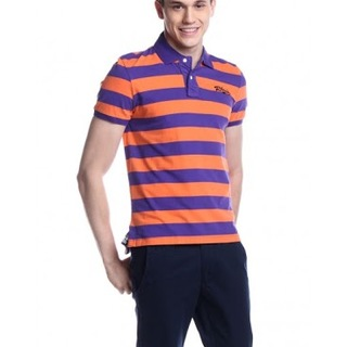 JACK & JONES MENS SHORT SLEEVE KNITS WITH COLLAR (ORANGE AND VIOLET) (AGC140745403)