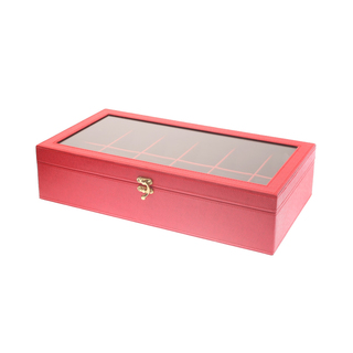 12-Compartment Watchbox Red Amanda (Rectangle Type)