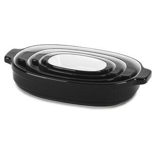 KitchenAid 4-Pc Nesting Casserole Ceramic Bakeware Onyx Black KBLR04NSER