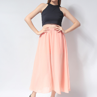 Ashley Collection Ellen Full Circle with Slit Maxi Skirt (265-Peach)