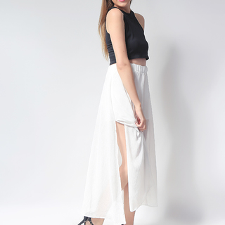 Ashley Collection Ellen Full Circle with Slit Maxi Skirt (265-White)