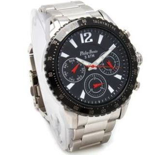 Philip Persio Men's Analog Chronograph Watch - Silver Stainless Steel Strap 3339SS-BK INDEX (1116999) *WITH FREE CHERISH CHARM BRACELET