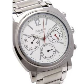 Philip Persio Men's Analog Chronograph Watch, Silver Stainless Steel Strap Watch 1651SS-W (1116989) *WITH FREE CHERISH CHARM BRACELET