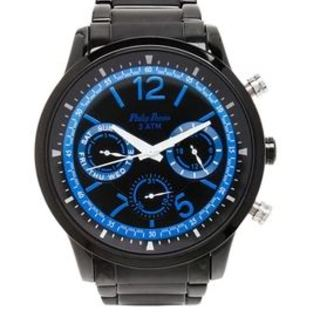 Philip Persio Men's Analog Chronograph Watch, Black Metal Strap Watch 2228BK-BK (1117047)*WITH FREE CHERISH CHARM BRACELET