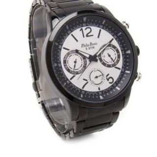 Philip Persio Men's Analog Chronograph Watch, Black Metal Strap Watch 2252BK-WBK (1117011) *WITH FREE CHERISH CHARM BRACELET