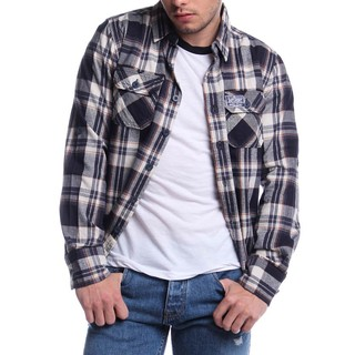 SUPERDRY  MEN'S LONGSLEVEE WOVEN WITH COLLAR N.BLUE AND BROWN (41787)
