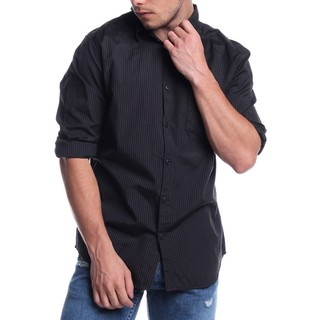 ZARA MEN'S LONGSLEVEE WOVEN WITH COLLAR BLACK 43998