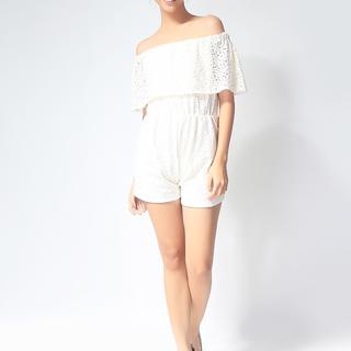 Cream Lace Offshoulder Romper (AW20151LOR-W)