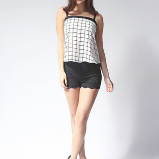 White Checks Flared Top (F2015FT1-W/Ch)