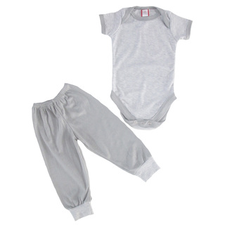 Bug & Kelly Gray Mini Stripes Onesie Set for Boys