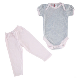 Bug & Kelly Gray Mini Stripes Onesie Set for Girls