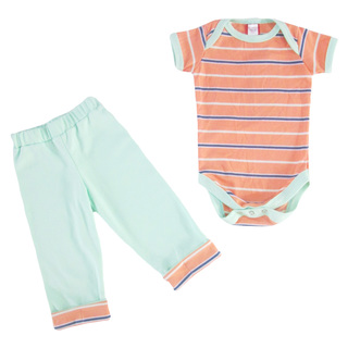 Bug & Kelly Orange and Blue Stripes Onesie Set