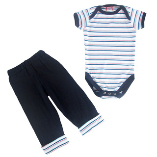 Bug & Kelly Blue, Red, Aqua Stripes Onesie Set