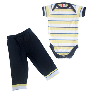 Bug & Kelly Yellow and Blue Stripes Onesie Set