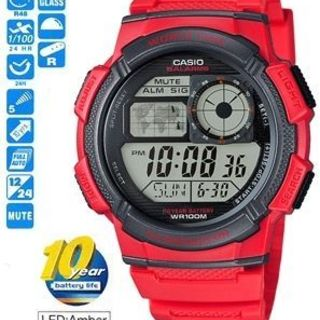 Casio Illuminator Men's Red Resin Strap Watch AE-1000W-4AVDF (RED)