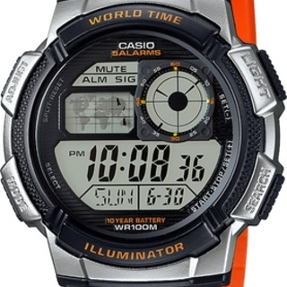 Casio Illuminator Men's Orange Resin Strap Watch AE-1000W-4BVDF (ORANGE)