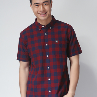 ELEMENT SHORT SLEEVE WOVEN CHECKERED SHIRT BLUE/MAROON (48650)