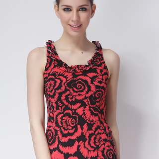 FOREVER 21 LDS SLEEVELESS TOP RED & BLACK (48350)