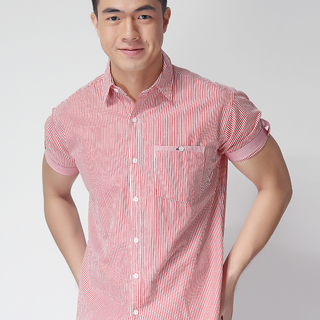 FRENCH CONNECTION SHORT SLEEVE WOVEN SHIRT RED (48763)