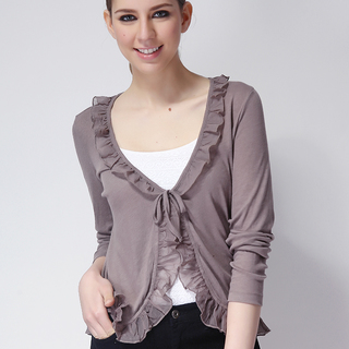 TOMTAILOR LDS RUFFLE CARDIGAN BROWN (48572)