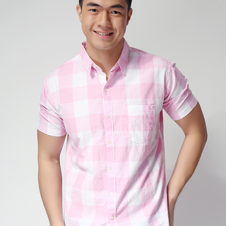 GAP SHORT SLEEVE WOVEN CHECKERED SHIRT PINK/WHITE (SHP50046)