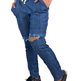 OWPH MEN'S KNEE RIPPED PANTS (BLUE JEANS)