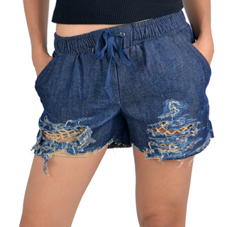 OWPH WOMEN'S RIPPED SHORTS (NAVY BLUE)