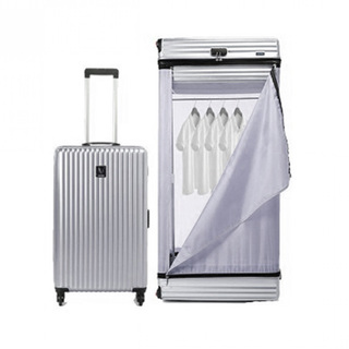 Multifunction 28 Inches Luggage Trolley Cabinet With Swivel Castors - Silver